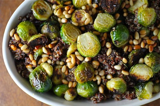 Red Quinoa and Brussels Sprout Salad with Toasted Pine Nuts - Spinach ...