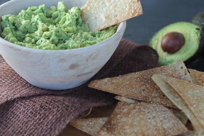 Homemade Brown Rice Chips and Guacamole