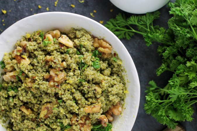 Spinach Pesto Quinoa Bowl