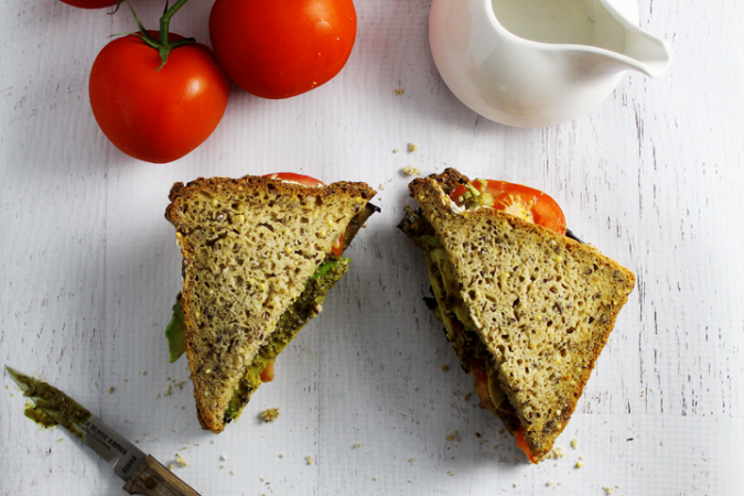 Gluten Free Eggplant Pesto Sandwich