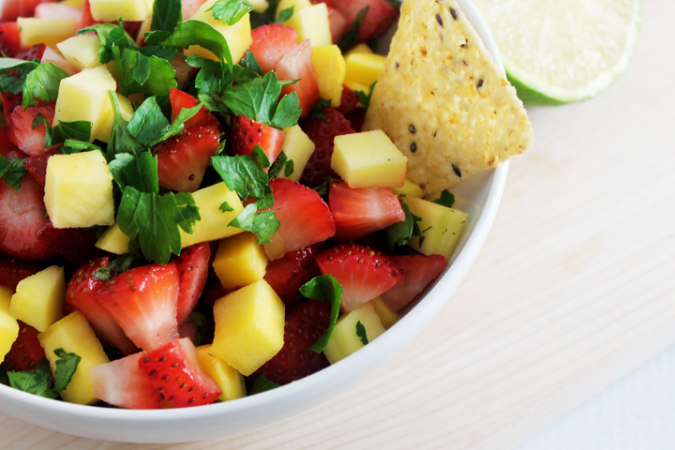 Strawberry Mango Salsa with Lime Juice and Honey