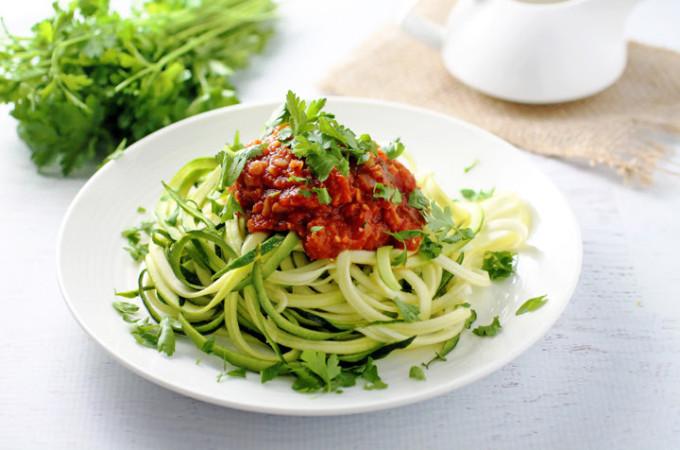 Lentil Fra Diavolo Over Zucchini Pasta