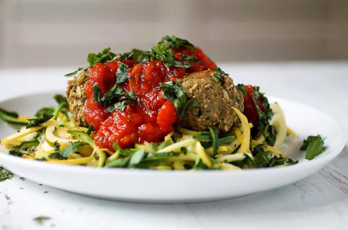 Eggplant 'Meatballs' over Zucchini Pasta