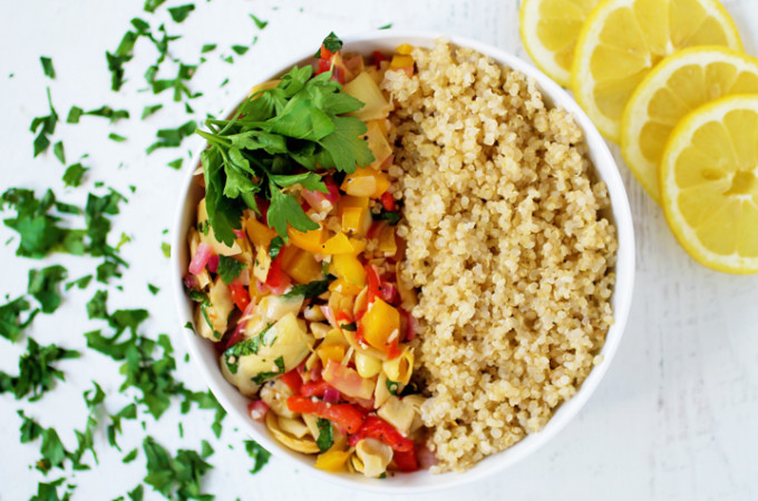 Artichoke and Pepper Quinoa Bowl