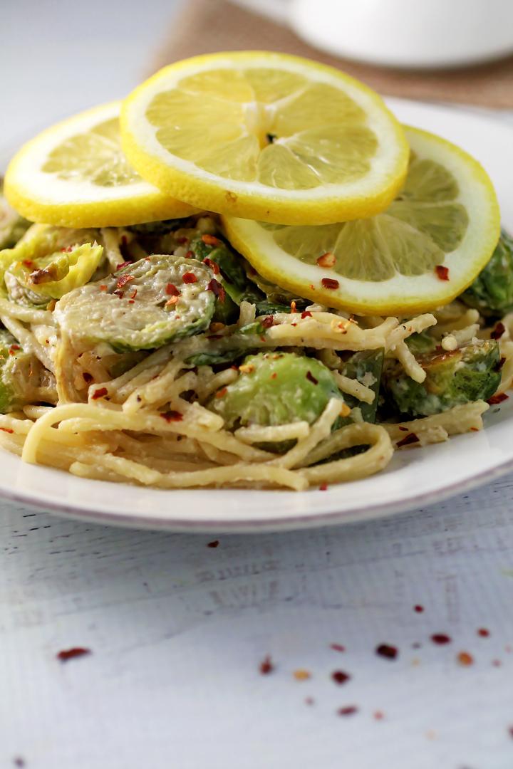 Vegan Lemony Brussels Sprout Pasta