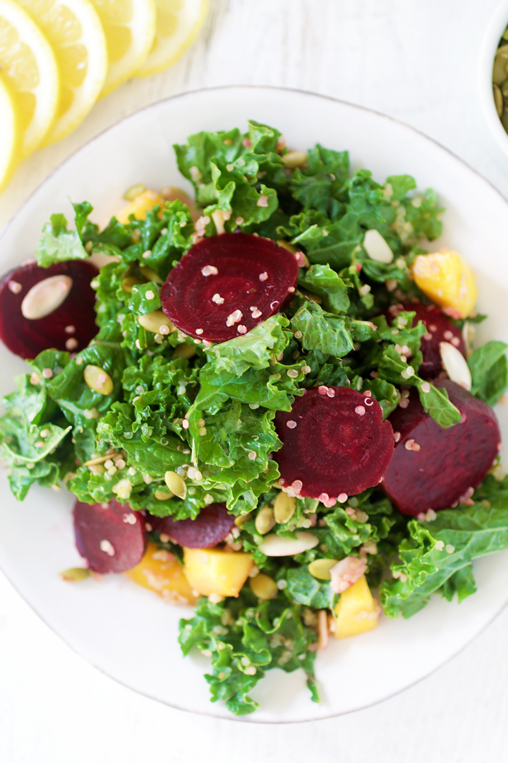 Kale, Quinoa & Beet Salad with Lemon Vinaigrette