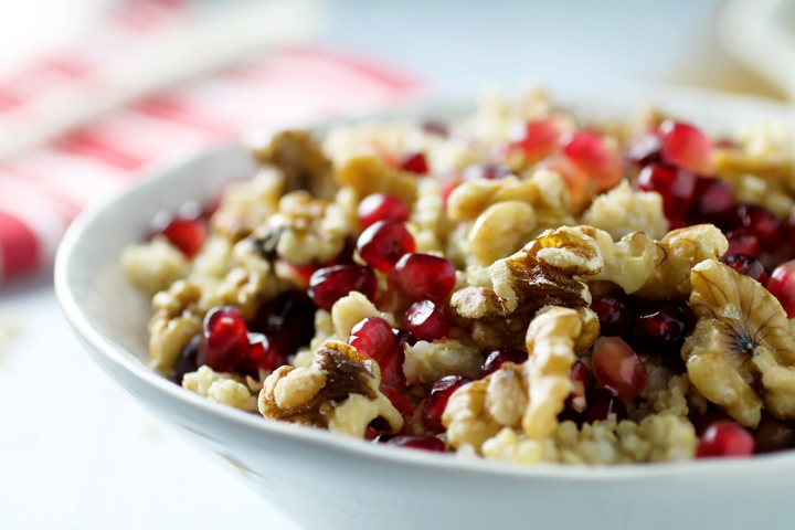 Pomegranate Walnut Quinoa Oatmeal