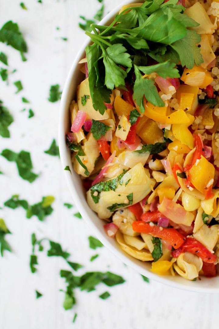 Artichoke and Pepper Quinoa Bowl
