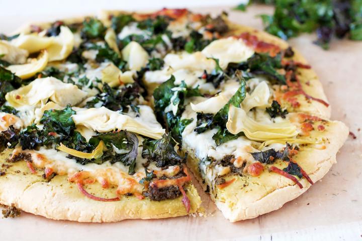 Gluten Free Kale & Artichoke Pizza